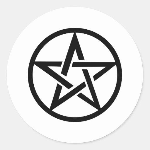 black pentacle pentagram ring round sticker