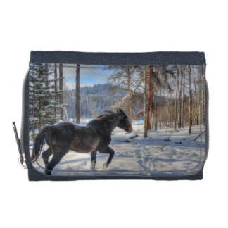 Black Percheron in Forest and First Winter Snow Wallet