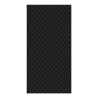 Black Perforated Kevlar Carbon Fiber Personalized Photo Card