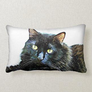 Black Persian Cat Art Lumbar Cushion