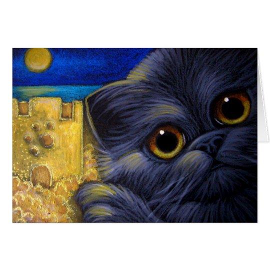 BLACK PERSIAN CAT - SAND CASTLE CUSTOMIZE Card