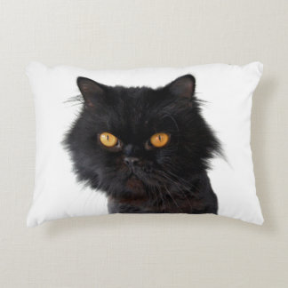 Black Persian Cat With Yellow Eyes Decorative Cushion