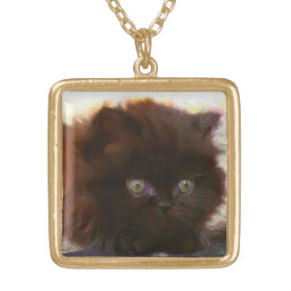 Black persian kitten necklace
