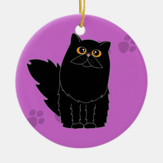 Black Persian / Longhaired Cat Pawprint Ceramic Ornament