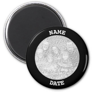 Black Personalised Round Photo Border Magnet