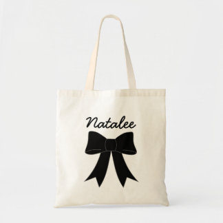 Black Personalized Bow Budget Tote