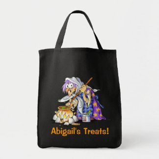 Black Personalized Halloween Treat Bags - Witch