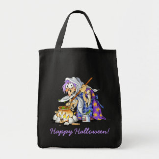 Black Personalized Halloween Treat Bags With Witch