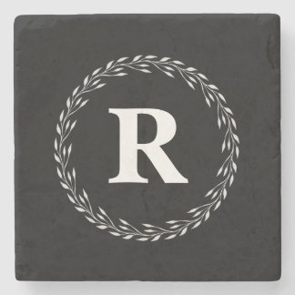 Black Personalized Initial Stone Coaster