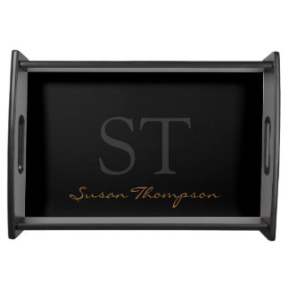 black personalized name & initials serving tray