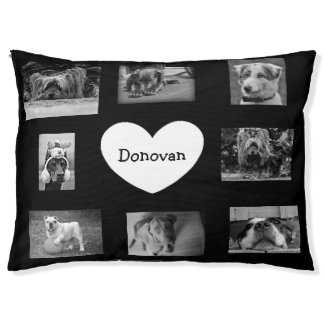 Black Personalized Photo Paw Love Dog Bed