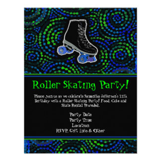 Black Personalized Roller Skating Party Invitation