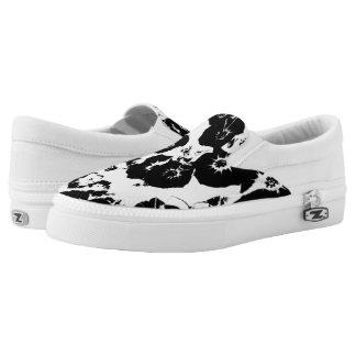 Black Petunias Printed Shoes