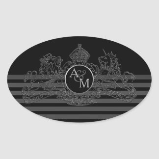 Black Pewter Lion Unicorn Regal Emblem Monogram Oval Sticker