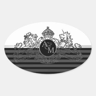 Black Pewter White Lion Unicorn Emblem Monogram Oval Sticker