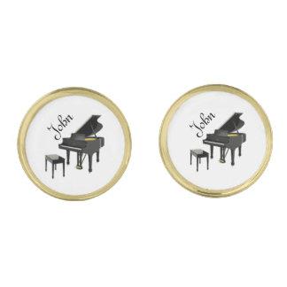 Black Piano Cufflinks Gold Finish Cufflinks