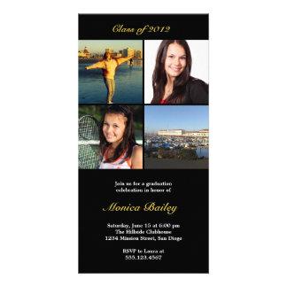 Black picture block graduation announcement invite photo greeting card