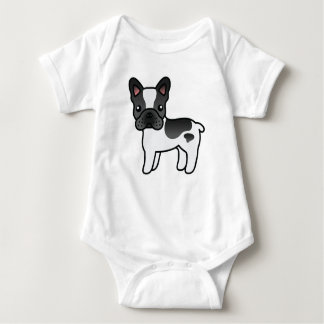 Black Piebald Cartoon French Bulldog Baby Bodysuit