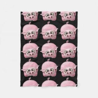 Black Piggy Fleece Blanket