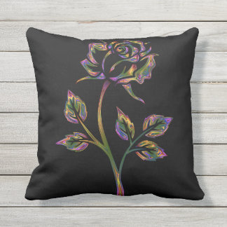 Black Pillow with Neon Flower