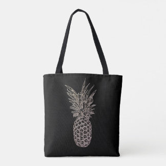 Black Pineapple Tote Bag