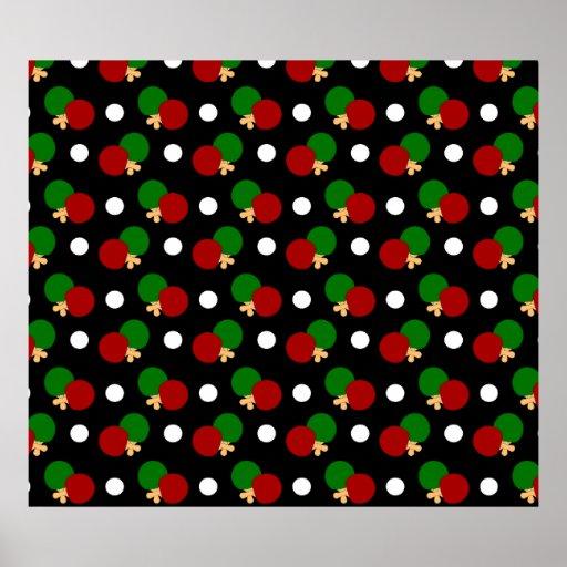 Black ping pong pattern print
