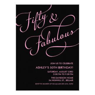 Black Pink 50 and Fabulous Birthday Invitations