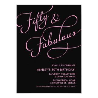 Black & Pink 50 and Fabulous Birthday Invitations