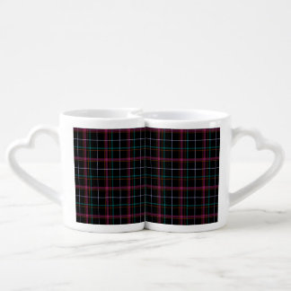 Black Pink and Green Plaid Couple Mugs