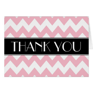 Black Pink and White Chevron Thank You Card