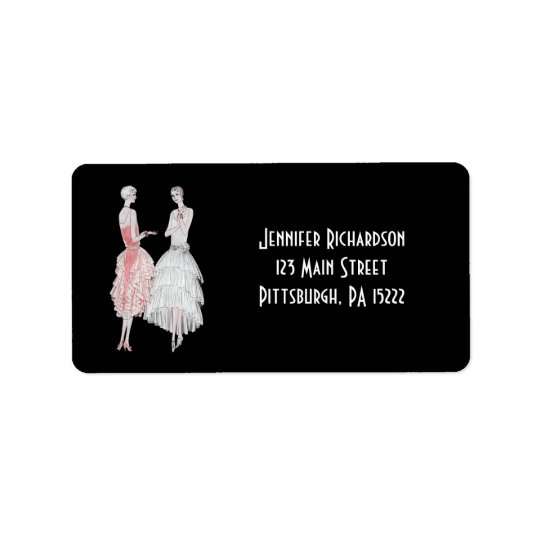 Black Pink and White Flapper Style Label