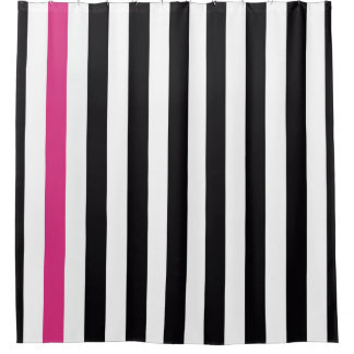 Black Pink And White Stripes Shower Curtain
