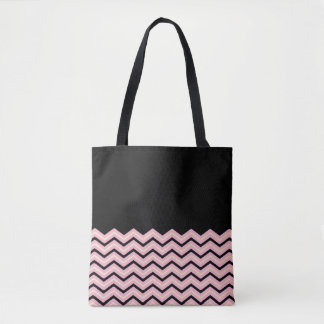 Black, Pink and Yellow Chevron Tote