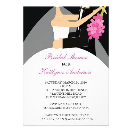 Black & Pink Bride Bridal Shower Invitation