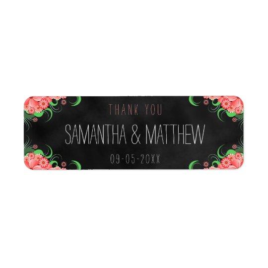 Black Pink Chalkboard Floral Wedding Favour Labels