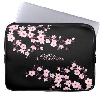 Black Pink Cherry Blossom Monogram Laptop Sleeve