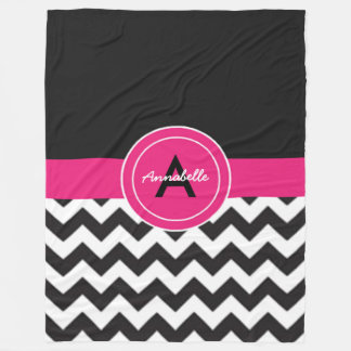 Black Pink Chevron Fleece Blanket