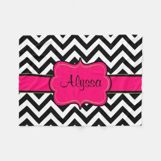 Black Pink Chevron Monogram Blanket