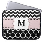 Black Pink Chevron Monogram Laptop Sleeve