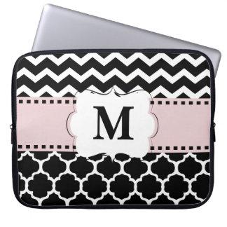 Black Pink Chevron Monogram Laptop Sleeve