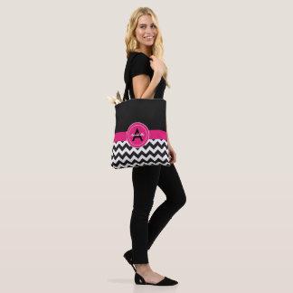 Black Pink Chevron Tote Bag