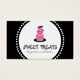 Black Pink Cupcake Cake Bakery Business Cards