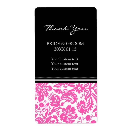 Black Pink Damask Pattern Wedding Labels