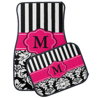 Black Pink Damask Stripe Monogram Car Mat