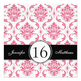Black Pink Damask Sweet Sixteen Invitations