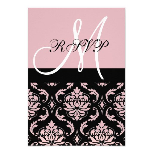 Black Pink Damask Wedding RSVP with Initial Announcements