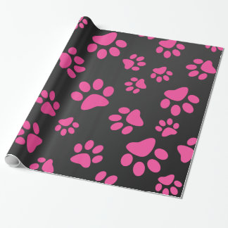 Black pink dog paws wrapping paper