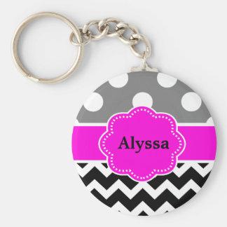 Black Pink Dots Chevron Personalized Key Ring