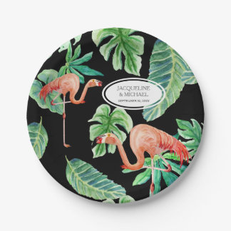 Black Pink Flamingo Bridal Shower Decor Watercolor 7 Inch Paper Plate