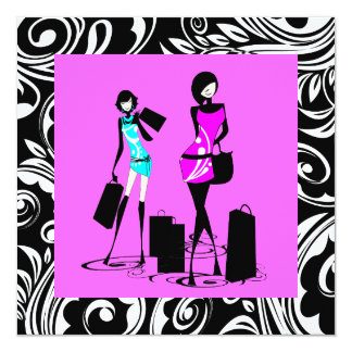 "Black pink girls sweet sixteen 5.25"" square invitation card"